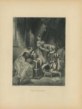 ANTIQUE ELIZABETHAN COSTUME GORGEOUS WOMAN MIRROR TABLEAU ELEGANT OLD ART PRINT