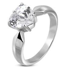 Verlobungsring Zirkonia Stein Herz-Form Damen-Ring Solitär-Ring Edelstahl