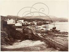 PLAQUE ALU DECO PHOTO ANCIENNE BANDOL BORDURE MER BATEAUX BATIMENTS 1860