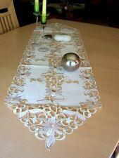Läufer / Tischband / Tischdecke Pearly natur bestickt in 5 Größen