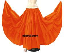 Orange Skirt 10 Yard 3 Tiered maxi Cotton Gypsy  Belly Dance Tribal Flamenco NEW
