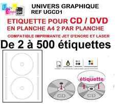 étiquette cd/ dvd pour toutes imprimantes DE 2 A 500 étiquettes cd dvd (l7676)