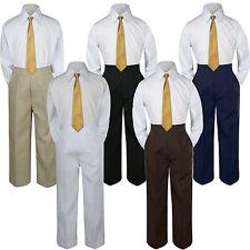 3pc Boys Suit Set Gold Necktie Baby Toddler Kids Formal Shirt Pants S-7 Wedding