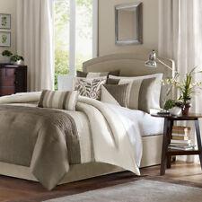 Beautiful Taupe Beige Khaki Tan Ivory Leaf Stripe Pintuck Textured Comforter Set