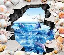 3D Shell Dolphin Boat Floor WallPaper Murals Wall Print Decal 5D AJ WALLPAPER