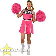 Donna Rosa High School Cheerleader Costume Adulti Con Pon Pon
