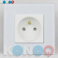 KONOQ Luxury Glass Panel 1 Gang French/EU 16A Wall Single Plug Socket