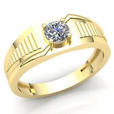 Genuine 0.75ctw Round Diamond Men's Solitaire Classic Wedding Band Ring 10K Gold