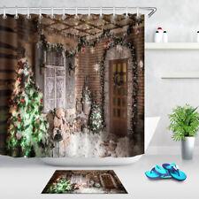 Bathroom Set Fabric Shower Curtain Liner Hooks Merry Christmas Theme Home Decor