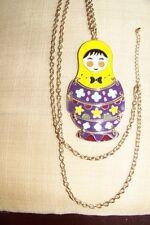 "36"" Goldtone Chain, 3 3/4"" Enamel Eskimo Girl Scale Pendant"