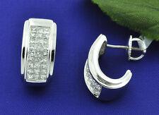 18k Solid White Gold Natural Diamond J hoop Earring Huggie Screwback 1.60 ct