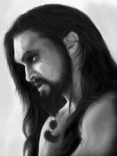 Jason Momoa Drogo Long Hair Art Painting Actor BW Giant Wall Print POSTER
