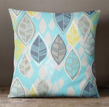 S4Sassy Aqua Blue Throw Pillow Case Leaf Print Square Cushion Cover