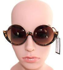 WOMEN'S ROUND BLACK & GOLD OR BROWN TORTOISE SHELL & GOLD SUNGLASSES - 100% UV