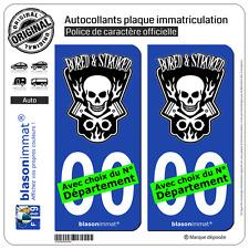 2 Stickers autocollant plaque immatriculation Auto : Bored & Stroked