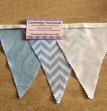 Blue & White Chevron Zig Zag Fabric Blue Cotton & White Cotton Fabric Bunting