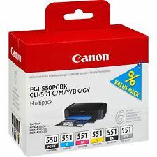 PGI-550 & CLI-551 Pk of 6 Genuine Canon Ink Cartridges incl. Grey PGI550 CLI551