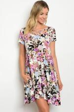Ivory Lavender Short Sleeve Floral Print Jersey Tunic Dress