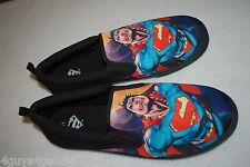Mens Casual Shoes SUPERMAN Slip On BLACK CANVAS Boat Deck 7 8 9 10 11 12 13