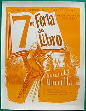 7ma Feria Del Libro 1964 Plaza De Armas OSJ Cartel Poster Serigraph Puerto Rico