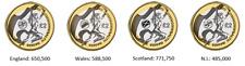 2002 Commonwealth £2 pound coins Northern Ireland, England, Wales ,Scotland