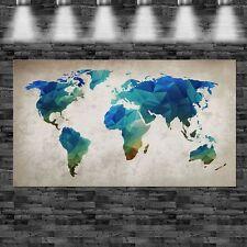 XXL Weltkarte abstrakt blau 160cmx90cm auf Leinwand Keilrahmen Loft Bild modern