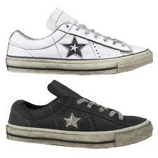 Converse One Star OX Herren Sneaker Turnschuhe Schuhe Distressed Leather NEU