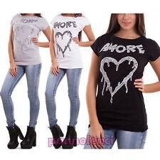 Maglia donna maglietta t-shirt stampa cuore scritte amore casual nuova CR-1991