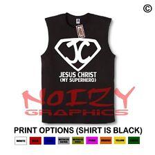 Jesus Christ Superhero #1 Christian SLEEVELESS Shirt Jesus Religious Muscle Tee