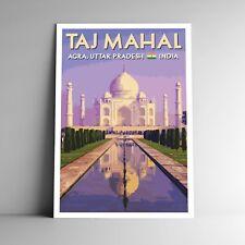 Taj Mahal Vintage-Style Travel Poster India Multiple Sizes