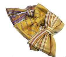 PAPILLON UOMO cravatta a farfalla a righe gialla beige oro gold fifi di seta ita