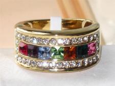 Tk1402pb Multigem Princesa Diamante Anillo de la eternidad simulado para mujer banda de oro