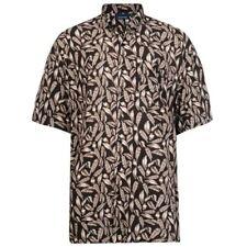 Espionage uomo manica corta Easy Care piuma stampa camicia (252) NERO/Marrone
