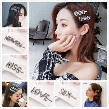 Women's Rhinestone Hair Clips Crystal Words Letters Hairpin Barrette Slide Grips