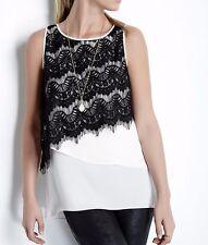 Karen Kane 3L25316 Cream/Black Asymmetrical Lace Overlay Tank Top - $99