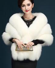 Women's fashion fur cape shawl jacket thick fur collar Cloak coat Fur vest parka