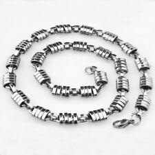 566bfe55c872 Estilo Clásico para Hombre Chicos Hecho a Mano de Plata de Acero Inoxidable  Enlace Collar 9mm18-30