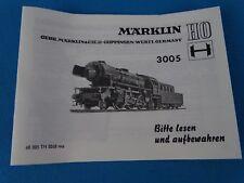 Marklin 3005 Steamer Br 23  Replica booklet 0268