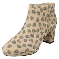 Clarks Damas Tobillo Botas Kelda noches inteligente [] Estampado de Leopardo UK 3,3 .5 D