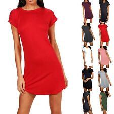Ladies Womens Oversized Baggy Turn Up Sleeve Curved Hem Tunic T-Shirt Mini Dress