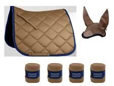 ESPERIA Lot Tapis de selle + Bandages + Oreilles Volantes beige sable / BLEU