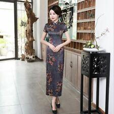 New Luxurious Blue Satin Floral Chinese Long Dress Cheongsam Qipao lcdress74