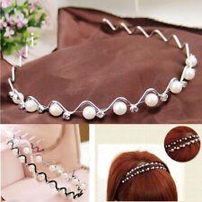 Women Jewelry Rhinestone Crystal Hairband Wavy Pearl Headband Flower