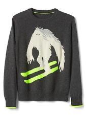 GAP Kids Boys Sz 4-5 NEW Intarsia Graphic Gray Ski Crew Pullover Sweater