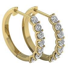 1.20Ct Natural Diamond 14K Yellow Gold Appraisal U Prong Set Hoop Earring Vvs1 E