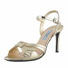 Prada Gold Leather Open Toe High Heel Slingbacks Sandals Shoes Sz 5 6 6.5 7
