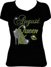 August Queen Bling Shirt, Birthday Bling Rhinestone Shirt, Birthday Shirt 8Bd4