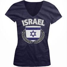 Israel Shield Crest Coat Of Arms Israeli Country Born ISR Juniors V-Neck T-Shirt