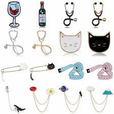 Eleagnt Womens Crystal Enamel Wineglass Cat Collar Brooch Pin Badge Jewellery