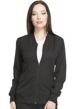 Dickies Women Scrubs Zip Front Warm Up Jacket DK330 BLK Black Free Shipping
